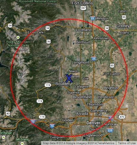 Flight Area Map: Boulder Air Tours